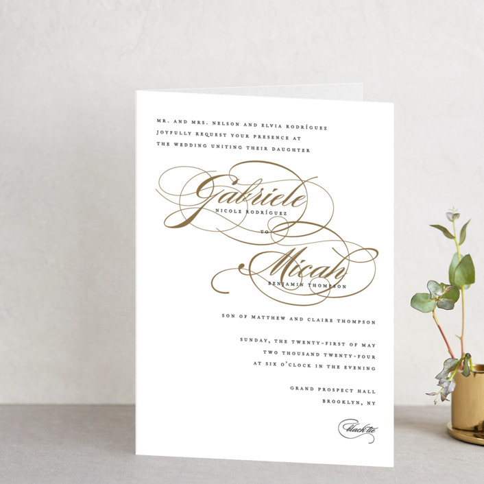 """Flourish"" - Elegant, Classical Four-panel Wedding Invitations in Antique by Jennifer Postorino."