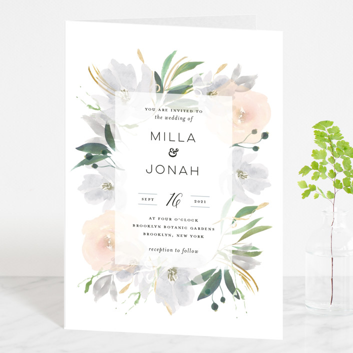 """Grande Botanique"" - Four-panel Wedding Invitations in Mist by Bonjour Paper."