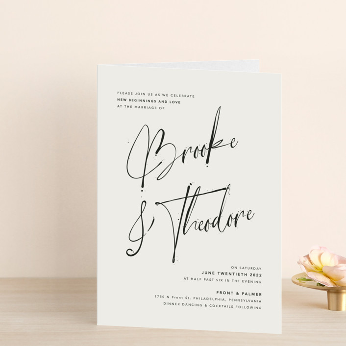 """""""Signature Style"""" - Four-panel Wedding Invitations in Silk by Design Lotus."""