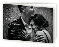 This is a white four panel wedding invitation by Laura Hamm called Kindly Join Us with standard printing on signature in four-panel.