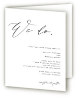 This is a black and white four panel wedding invitation by lulu and isabelle called We Do with standard printing on signature in four-panel.