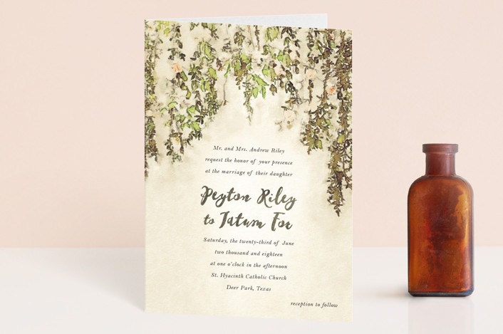 """English Countryside"" - Simple, Rustic Four-panel Wedding Invitations in Moss by Design Lotus."