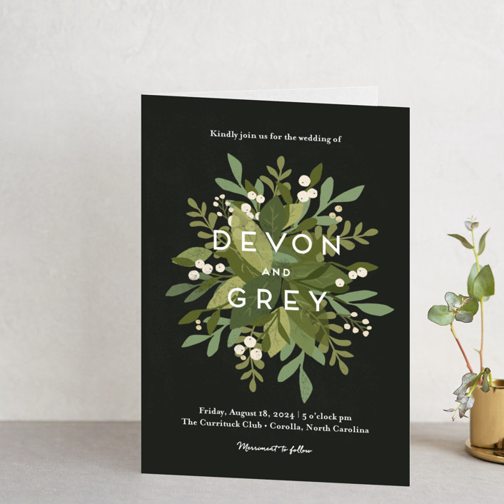 """""""Laurel of Greens"""" - Floral & Botanical, Rustic Four-panel Wedding Invitations in Midnight by Jennifer Wick."""
