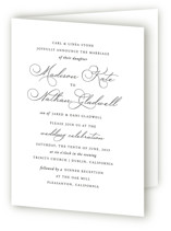 This is a white four panel wedding invitation by Jill Means called Organza with standard printing on signature in four-panel.