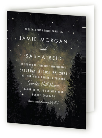 This is a portrait destination, illustrative, modern, painterly, rustic, grey, yellow Savvy Wedding Invitations by Elly called Starry, Starry Night with Standard printing on Signature in Four Panel Fold Over (Message Inside) format. A painted landscape scene with a night ...