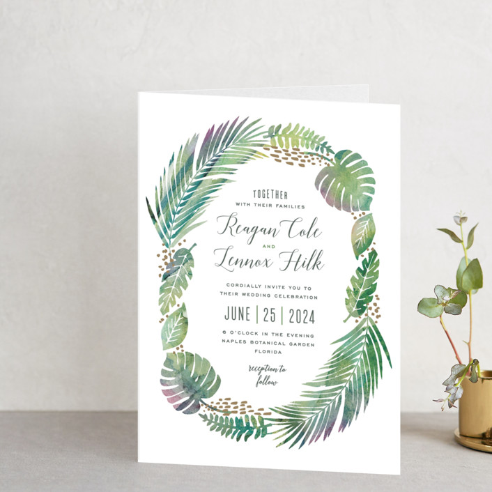 """Tropical Foliage"" - Destination, Rustic Four-panel Wedding Invitations in Fern by Hooray Creative."