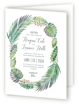 Tropical Foliage Four-Panel Wedding Invitations