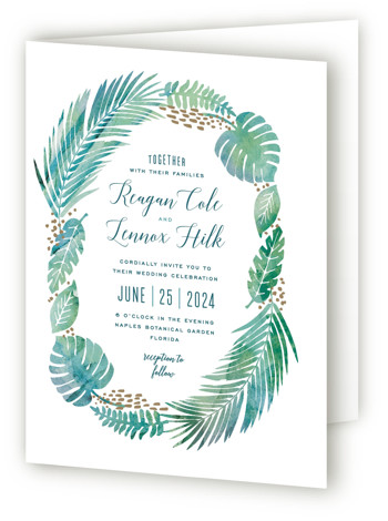 This is a portrait botanical, destination, illustrative, rustic, blue Savvy Wedding Invitations by Hooray Creative called Tropical Foliage with Standard printing on Signature in Four Panel Fold Over (Message Inside) format. A unique illustration of lush tropical foliage paired with ...