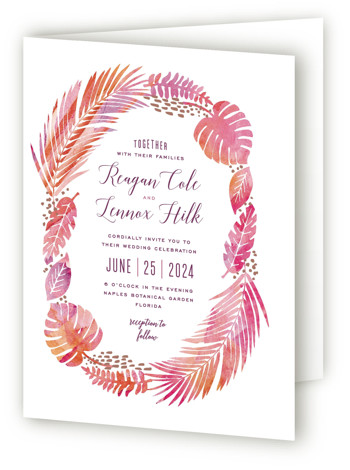 This is a portrait botanical, destination, illustrative, rustic, pink Savvy Wedding Invitations by Hooray Creative called Tropical Foliage with Standard printing on Signature in Four Panel Fold Over (Message Inside) format. A unique illustration of lush tropical foliage paired with ...