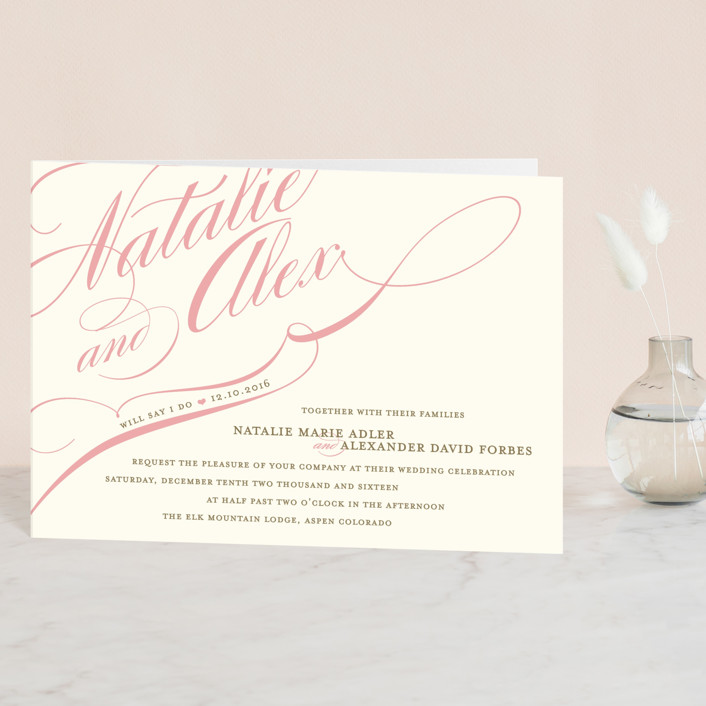 """Winter Flourish"" - Elegant, Formal Four-panel Wedding Invitations in Petal Pink by annie clark."