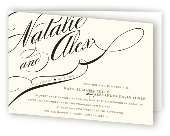 This is a landscape bold typographic, bold and typographic, classical, elegant, formal, black, ivory Savvy Wedding Invitations by annie clark called Winter Flourish with Standard printing on Signature in Four Panel Fold Over (Message Inside) format.