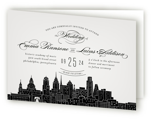 This is a landscape cities and states, destination, hand drawn, modern, whimsical, grey Savvy Wedding Invitations by Hooray Creative called Big City Philadelphia with Standard printing on Signature in Four Panel Fold Over (Message Inside) format. An elegant, yet modern ...