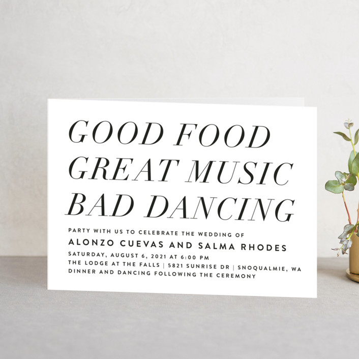 """""""Bad Dancing"""" - Four-panel Wedding Invitations in Dove by Amy Payne."""