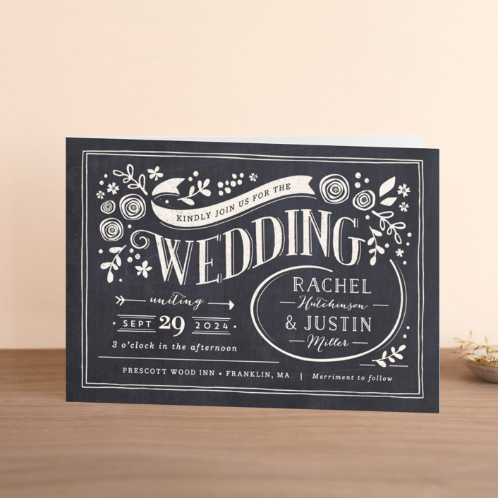 """Alabaster Florals"" - Floral & Botanical, Vintage Four-panel Wedding Invitations in Slate by Jennifer Wick."