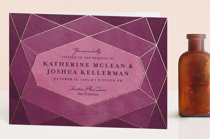 """""""Abstract Jewel"""" - Modern Four-panel Wedding Invitations in Amethyst by Rebecca Bowen."""