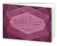 This is a purple four panel wedding invitation by Rebecca Bowen called Abstract Jewel with standard printing on signature in four-panel.