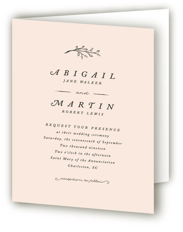 This is a portrait botanical, simple, simple and minimalist, pink Savvy Wedding Invitations by Stacey Meacham called Storybook Romance with Standard printing on Signature in Four Panel Fold Over (Message Inside) format. This romantic wedding invitation features whimsical hand drawn ...