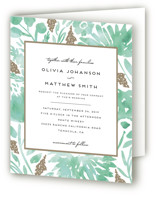 This is a green four panel wedding invitation by Petra Kern called Watercolor Delight with standard printing on signature in four-panel.