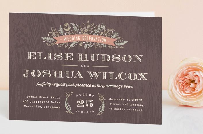 """Woodland Romance"" - Rustic Four-panel Wedding Invitations in Walnut by Hooray Creative."
