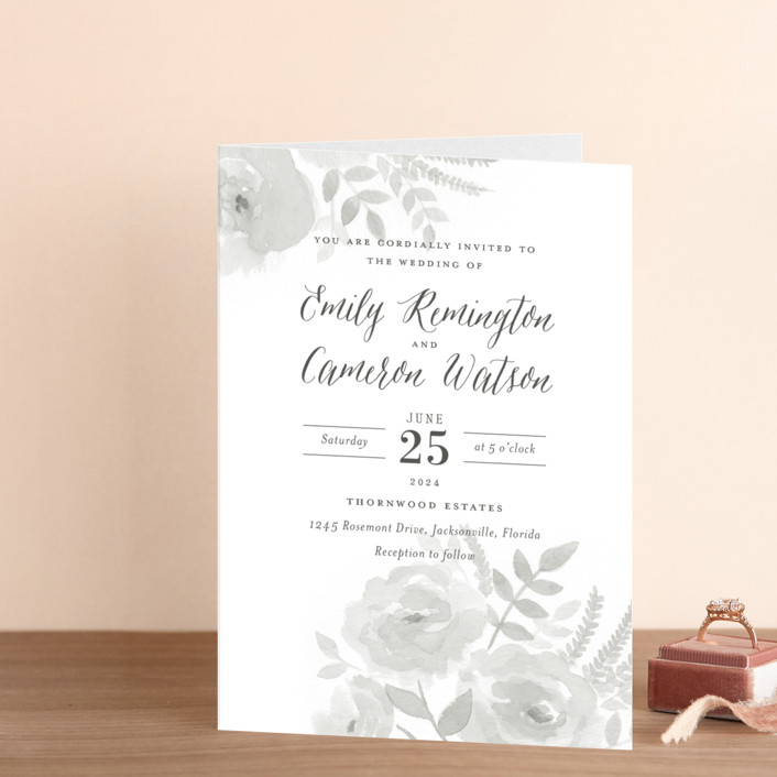 """Watercolor Floral"" - Floral & Botanical Four-panel Wedding Invitations in Fog by Jill Means."