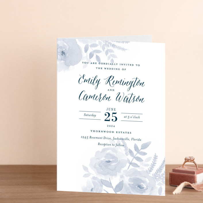 """""""Watercolor Floral"""" - Four-panel Wedding Invitations in Fog by Jill Means."""