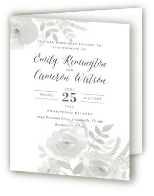 Watercolor Floral Four-Panel Wedding Invitations