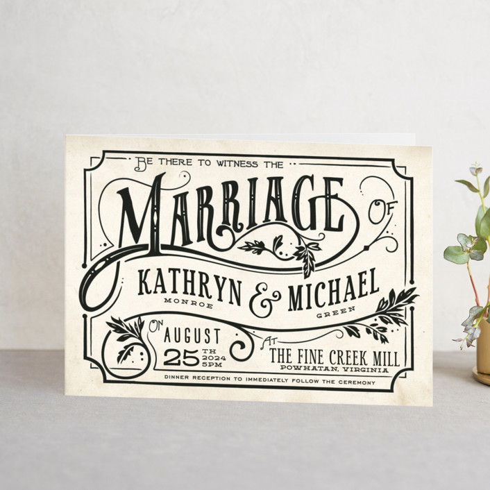 """""""Inked"""" - Hand Drawn, Bold typographic Four-panel Wedding Invitations in Parchment by GeekInk Design."""