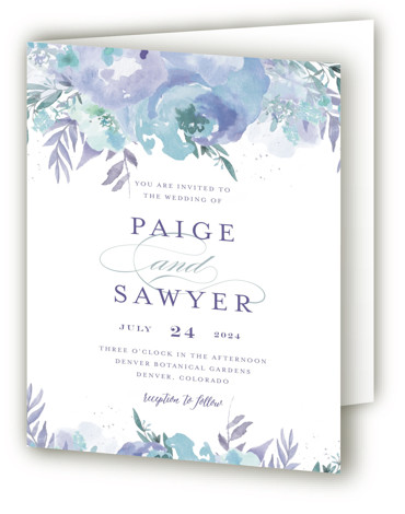 This is a portrait botanical, floral, painterly, blue, purple, green Savvy Wedding Invitations by Grace Kreinbrink called Big Blooms with Standard printing on Signature in Four Panel Fold Over (Message Inside) format. Giant, vivid hand painted watercolor blooms frame this ...