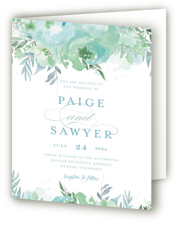 This is a portrait botanical, floral, painterly, blue, yellow, green Savvy Wedding Invitations by Grace Kreinbrink called Big Blooms with Standard printing on Signature in Four Panel Fold Over (Message Inside) format. Giant, vivid hand painted watercolor blooms frame this ...