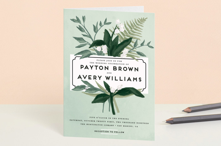 """""""Botanical Name Plate"""" - Floral & Botanical, Rustic Four-panel Wedding Invitations in Sage by Shiny Penny Studio."""