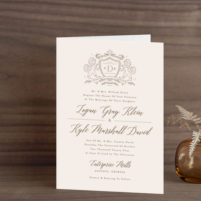 """Classic Crest"" - Hand Drawn, Vintage Four-panel Wedding Invitations in Antique by Kristen Smith."