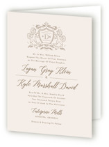This is a beige four panel wedding invitation by Kristen Smith called Classic Crest with standard printing on signature in four-panel.