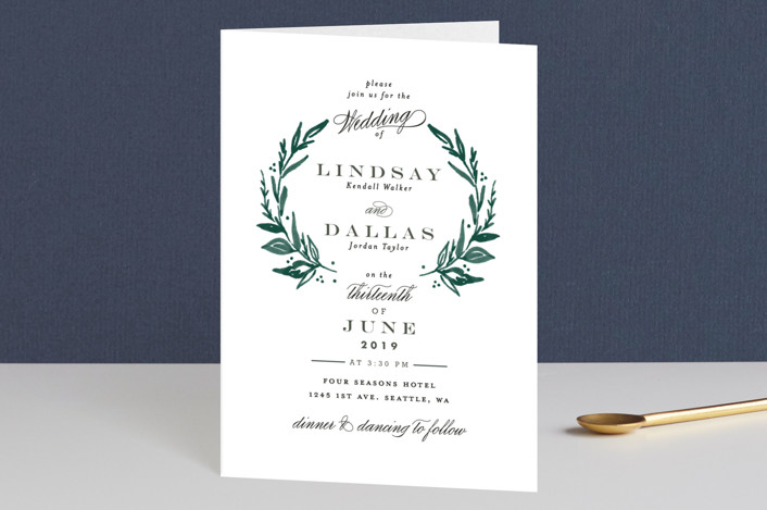 """Elegant Crest"" - Rustic, Modern Four-panel Wedding Invitations in Forest Green by Alethea and Ruth."