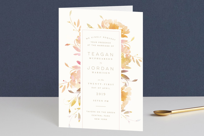 """Garden"" - Floral & Botanical, Rustic Four-panel Wedding Invitations in Peach by Lori Wemple."