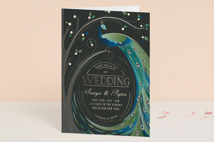 """""""Nouveau Leaves and Feathers"""" - Vintage, Whimsical & Funny Four-panel Wedding Invitations in Aquamarine by Susan Moyal."""