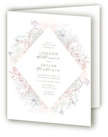 This is a portrait botanical, floral, hand drawn, rustic, vintage, purple Savvy Wedding Invitations by Phrosne Ras called Pastel Dream with Standard printing on Signature in Four Panel Fold Over (Message Inside) format. Beautiful mixed media florals in pastels with ...