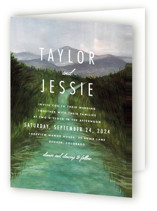 This is a green four panel wedding invitation by Elly called Adventure Begins with standard printing on signature in four-panel.