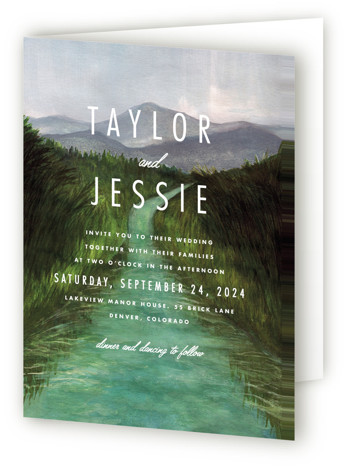 This is a portrait destination, illustrative, modern, painterly, rustic, green Savvy Wedding Invitations by Elly called Adventure Begins with Standard printing on Signature in Four Panel Fold Over (Message Inside) format. A painted watercolour landscape for a contemporary announcement.