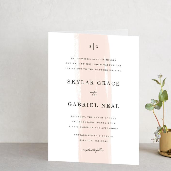 """Single Swath"" - Abstract, Modern Four-panel Wedding Invitations in Blush by Angela Marzuki."