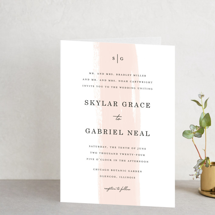 """Single Swath"" - Abstract, Modern Four-panel Wedding Invitations in Blush by Angela Marzuki."