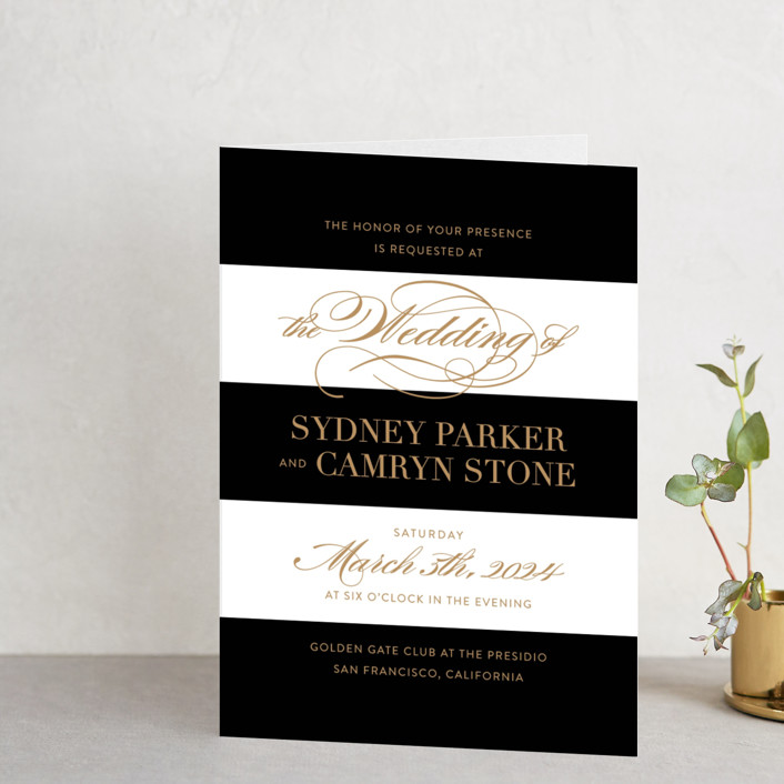 """Fashion District"" - Elegant, Formal Four-panel Wedding Invitations in Black Tie by Jill Means."