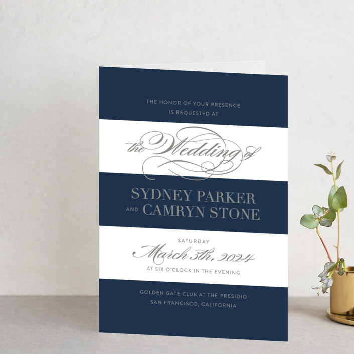 """""""Fashion District"""" - Elegant, Formal Four-panel Wedding Invitations in Black Tie by Jill Means."""