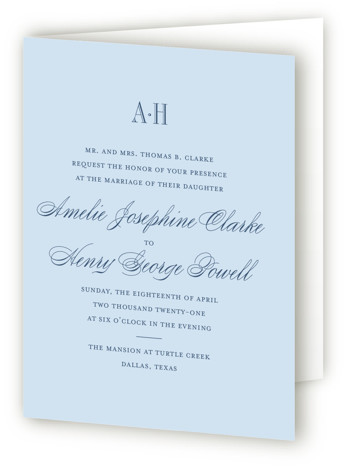 This is a portrait bold and typographic, classical, elegant, formal, preppy, blue Savvy Wedding Invitations by Toast & Laurel called Hepburn with Standard printing on Signature in Four Panel Fold Over (Message Inside) format. A timeless & elegant save the ...
