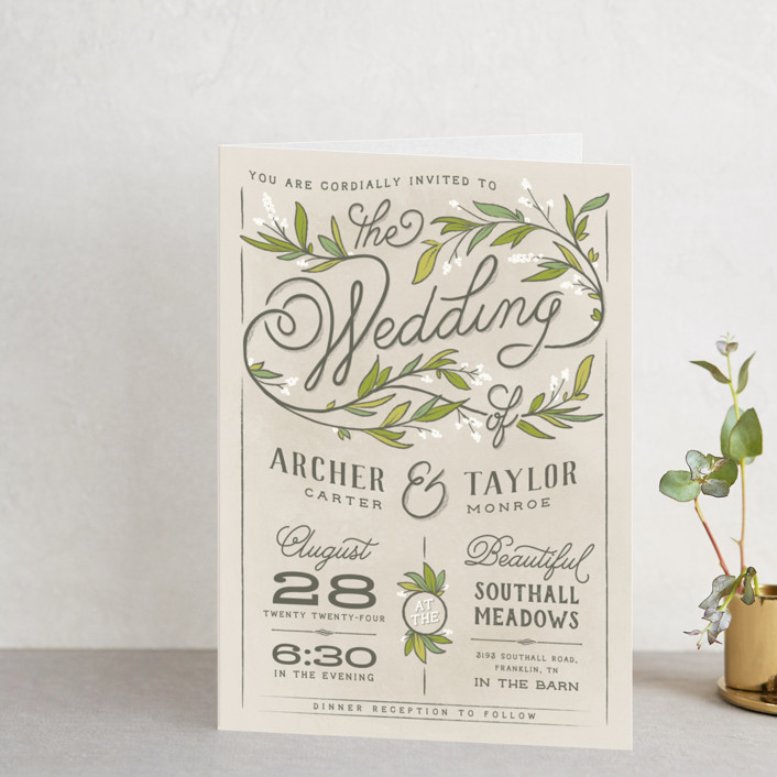 """""""Rustic Love"""" - Rustic, Floral & Botanical Four-panel Wedding Invitations in Parchment by GeekInk Design."""