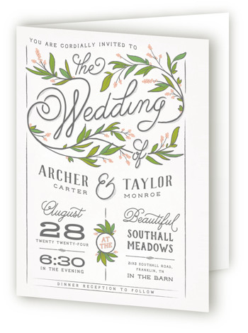 This is a portrait botanical, floral, hand drawn, illustrative, rustic, white, pink, green Savvy Wedding Invitations by GeekInk Design called Rustic Love with Standard printing on Signature in Four Panel Fold Over (Message Inside) format. A rustic styled wedding invite ...