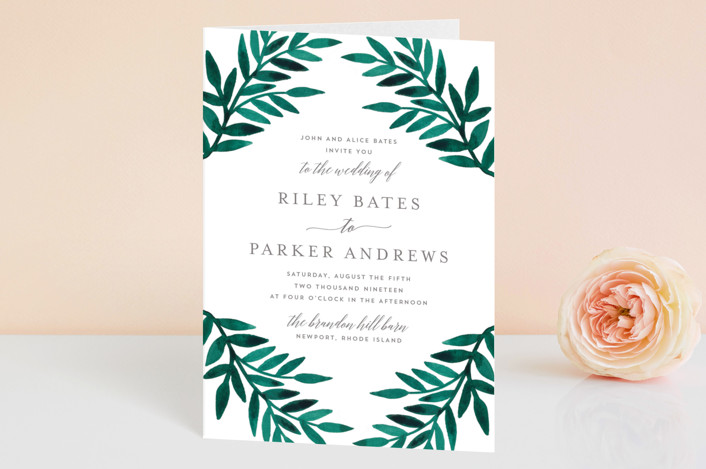 Painted Wedding Invitations: Painted Greenery Four-Panel Wedding Invitations By