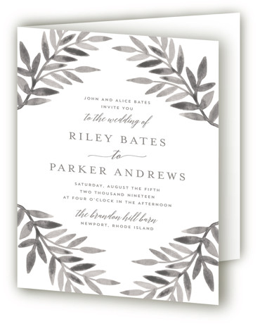 This is a portrait botanical, floral, hand drawn, painterly, rustic, grey Savvy Wedding Invitations by Katharine Watson called Painted Greenery with Standard printing on Signature in Four Panel Fold Over (Message Inside) format. This design uses a watercolor botanical border ...