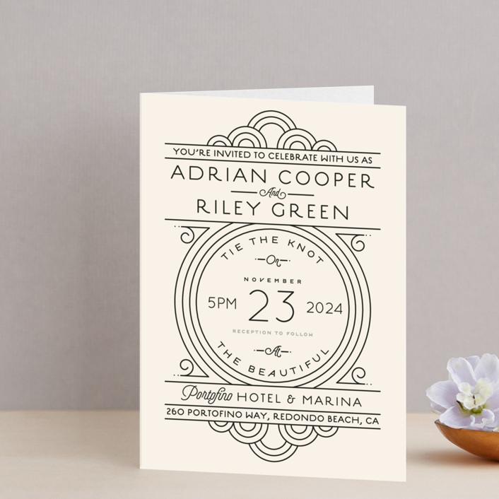 """Deco Nouveau"" - Vintage, Elegant Four-panel Wedding Invitations in Cream by GeekInk Design."