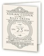 This is a ivory four panel wedding invitation by GeekInk Design called Deco Nouveau with standard printing on signature in four-panel.
