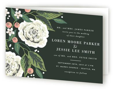 Climbing Rose Four-Panel Wedding Invitations